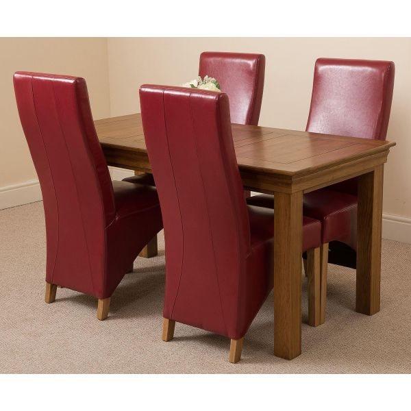 French Chateau Rustic Solid Oak 150cm Dining Table with 4 Lola Dining Chairs [Burgundy Leather]