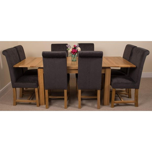 Richmond Solid Oak 140cm-220cm Extending Dining Table with 8 Washington Dining Chairs [Black Fabric]