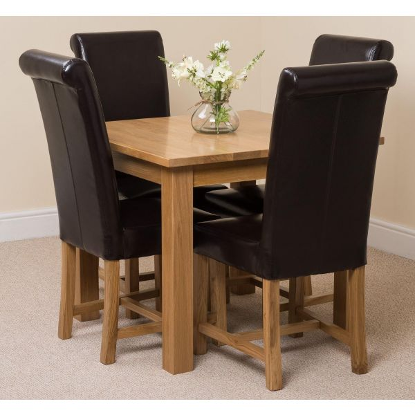 Oslo Solid Oak Dining Table with 4 Washington Dining Chairs [Brown Leather]