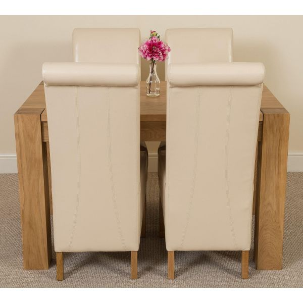 Kuba Solid Oak 125cm Dining Table with 4 Montana Dining Chairs [Ivory Leather]