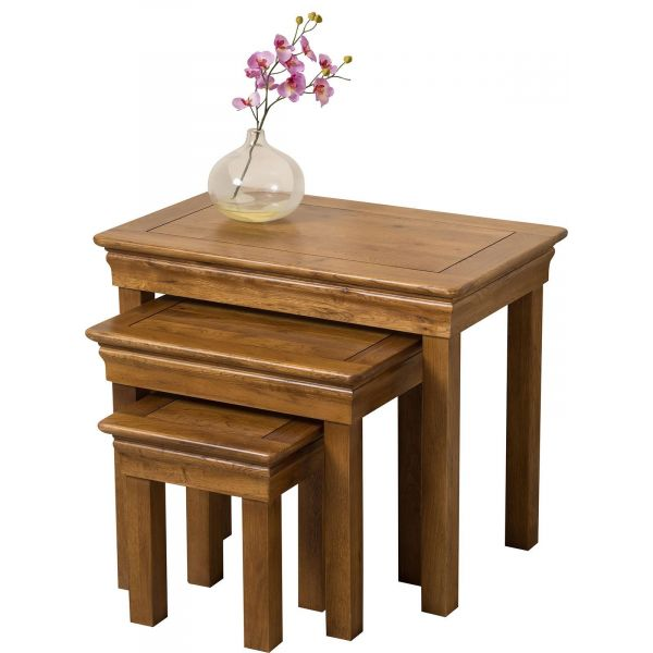 French Chateau Solid Oak Nest of Tables - Clear