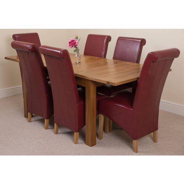 Cotswold Rustic Solid Oak 132cm-198cm Extending Farmhouse Dining Table with 6 Montana Dining Chairs [Burgundy Leather]