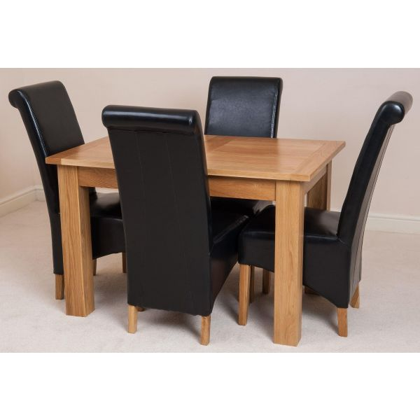 Hampton Solid Oak 120-160cm Extending Dining Table with 4 Montana Dining Chairs [Black Leather]