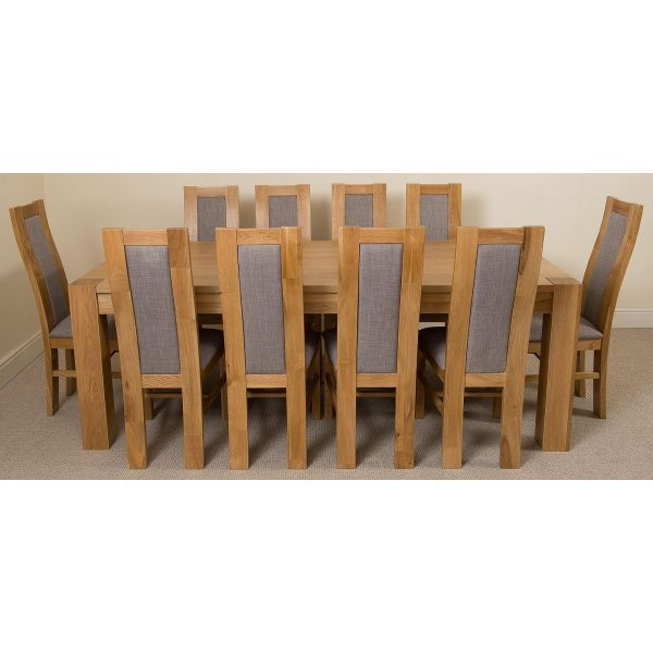 Kuba Solid Oak 220cm Dining Table with 10 Stanford Solid Oak Dining Chairs [Light Oak and Grey Fabric]