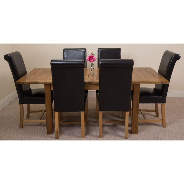 Cotswold Rustic Solid Oak 132cm-198cm Extending Farmhouse Dining Table with 6 Washington Dining Chairs [Black Leather]