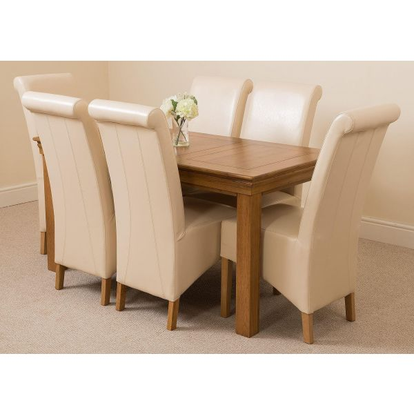 French Chateau Rustic Solid Oak 180cm Dining Table with 6 Washington Dining Chairs [Ivory Leather]