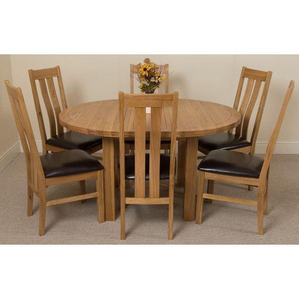 Edmonton Round Oak Dining Set with 6 Princeton Oak Chairs