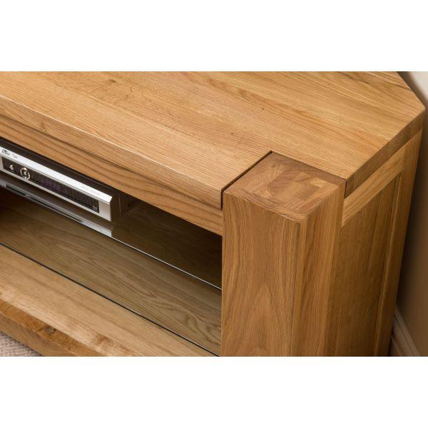 Kuba Solid light Oak Corner TV Cabinet - Side