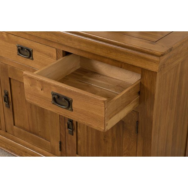 French Chateau Rustic Furniture  Solid Oak Large Sideboard - 1 drawer open