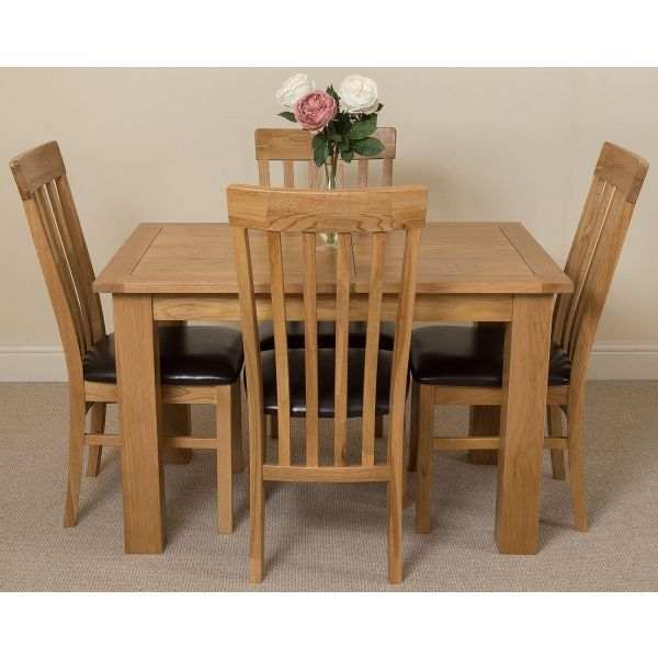 Hampton Solid Oak 120-160cm Extending Dining Table with 4 Harvard Solid Oak Dining Chairs [Light Oak and Brown Leather]