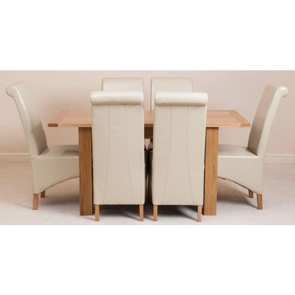 Hampton Small Oak Extending Dining Table with 6 Montana Ivory Leather Chairs