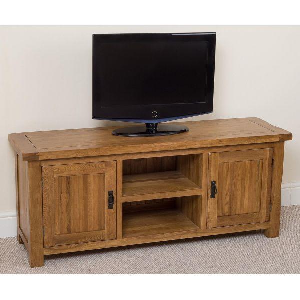 Cotswold Oak Widescreen TV Cabinet - Lett Angle