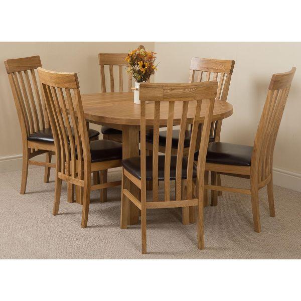 Edmonton Round Oak Dining Set with 6 Harvard Oak Chairs
