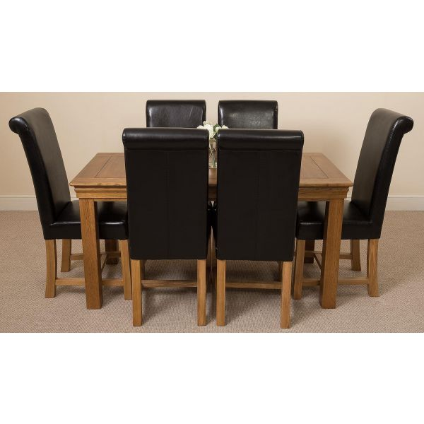 French Chateau Rustic Solid Oak 150cm Dining Table with 6 Washington Dining Chairs [Black Leather]