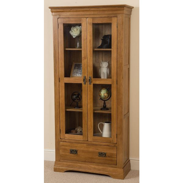 French Chateau Solid Oak Display Cabinet - Left