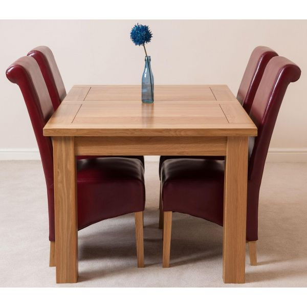 Seattle Oak Extending Dining Table and 4 Montana Burgundy Leather Dining Chairs