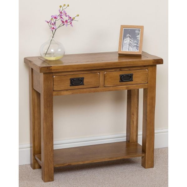 Cotswold Oak Console Table - Left Angle