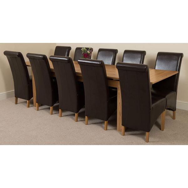 Richmond Solid Oak 200cm-280cm Extending Dining Table with 10 Montana Dining Chairs [Brown Leather]