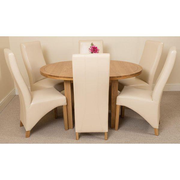 Edmonton Round Oak Dining Set with 6 Lola Ivory Leather Chairs