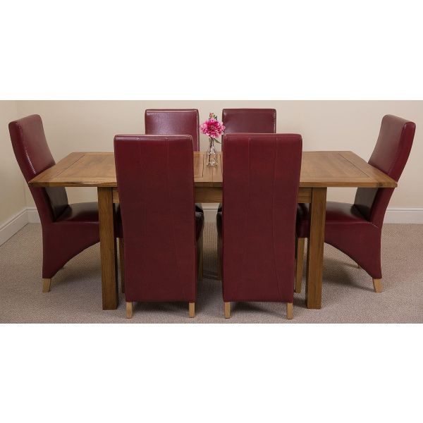 Cotswold Rustic Solid Oak 132cm-198cm Extending Farmhouse Dining Table with 6 Lola Dining Chairs [Burgundy Leather]