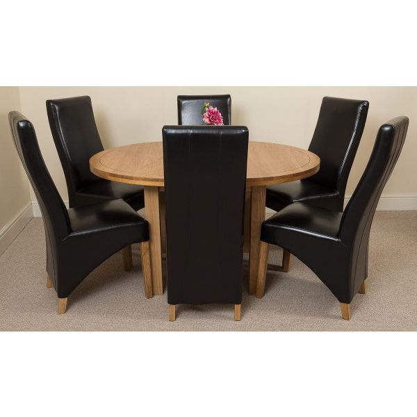 Edmonton Solid Oak 110cm Extending Oval Dining Table with 6 Lola Dining Chairs [Brown Leather]