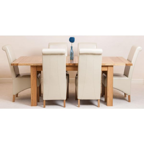 Seattle Solid Oak 150cm-210cm Extending Dining Table with 6 Montana Dining Chairs [Ivory Leather]