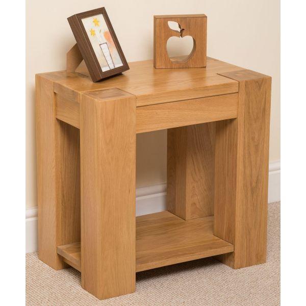 kuba Solid Oak lamp table right angle