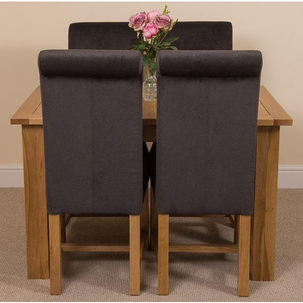 Hampton Solid Oak 120-160cm Extending Dining Table with 4 Washington Dining Chairs [Black Fabric]