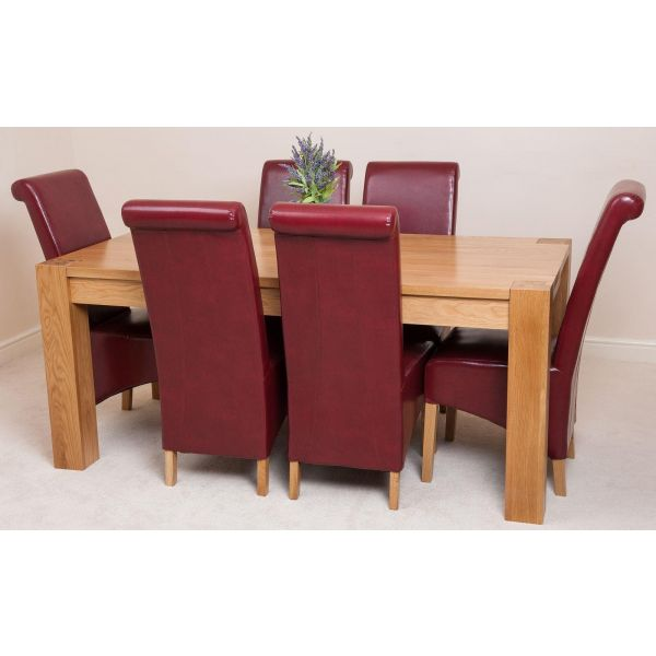 Kuba Solid Oak 220cm Dining Table with 6 Montana Dining Chairs [Burgundy Leather]