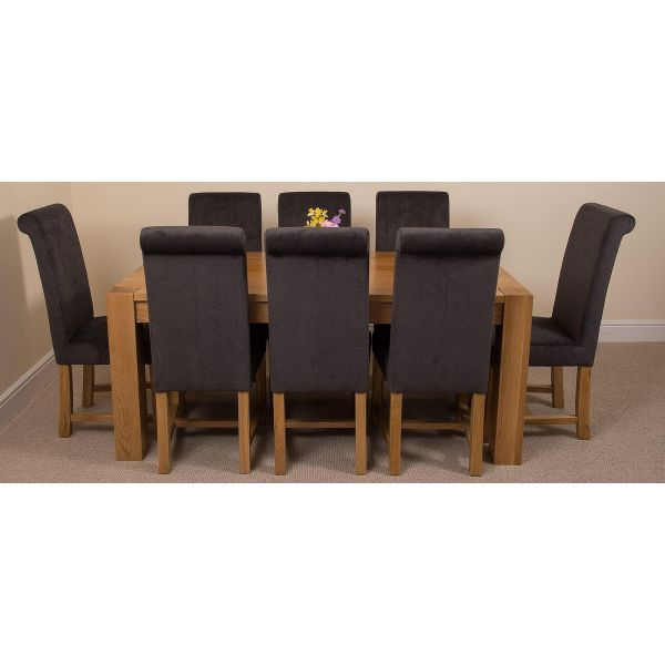 Kuba Solid Oak 180cm Dining Table with 8 Washington Dining Chairs [Black Fabric]