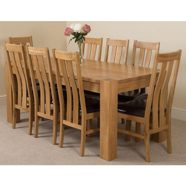 Kuba Solid Oak 180cm Dining Table with 8 Princeton Solid Oak Dining Chairs [Light Oak and Brown Leather]