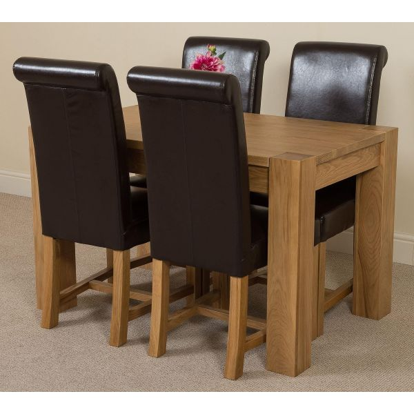 Kuba Solid Oak 125cm Dining Table with 4 Washington Dining Chairs [Brown Leather]