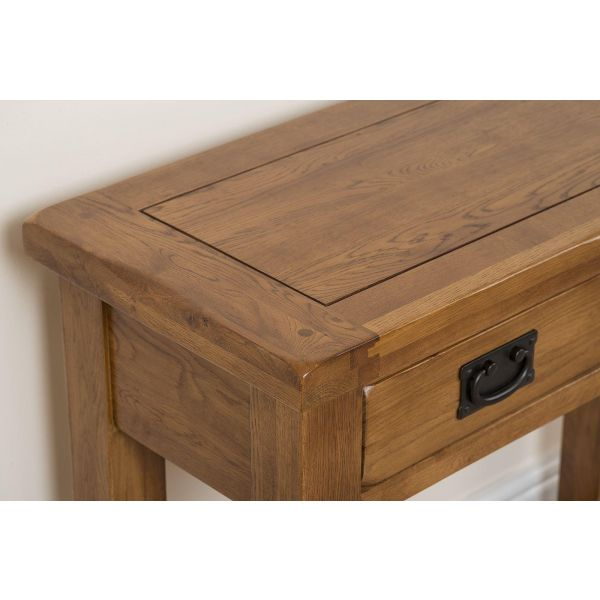 Cotswold Oak Console Table - Top Drawer Close