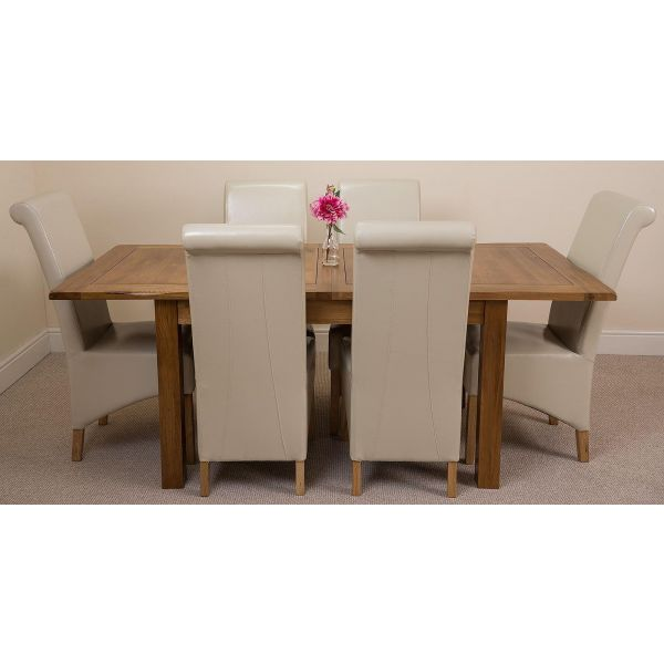 Cotswold Rustic Solid Oak 132cm-198cm Extending Farmhouse Dining Table with 6 Montana Dining Chairs [Ivory Leather]