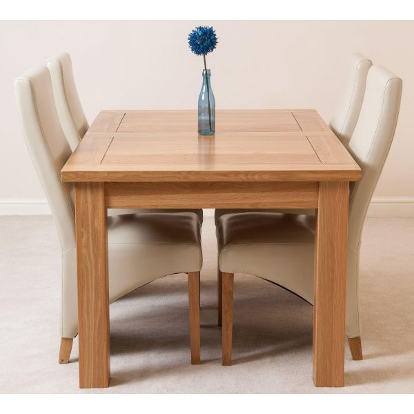 Seattle Solid Oak 150cm-210cm Extending Dining Table with 4 Lola Dining Chairs [Ivory Leather]