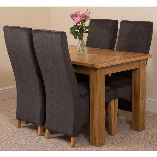 Hampton Solid Oak 120-160cm Extending Dining Table with 4 Lola Dining Chairs [Black Fabric]