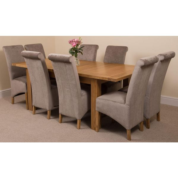 Seattle Solid Oak 150cm-210cm Extending Dining Table with 8 Montana Dining Chairs [Grey Fabric]