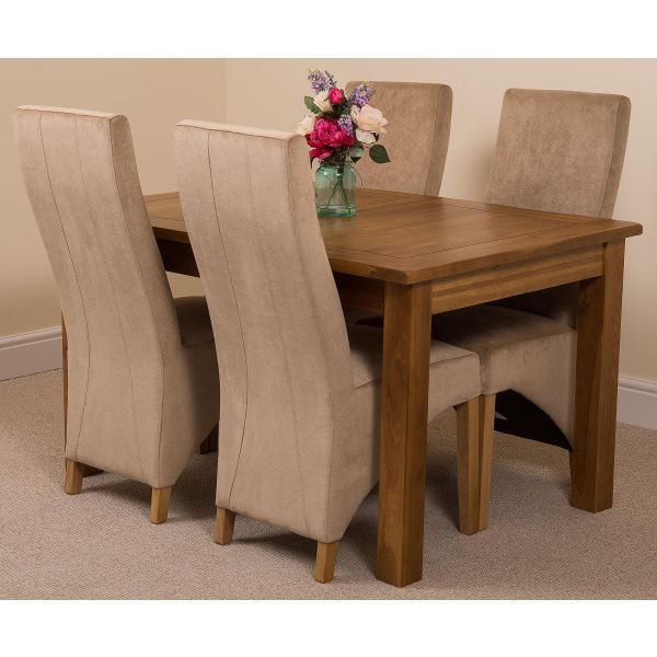 Cotswold Rustic Solid Oak Dining Table - Beige Fabric Lola Dining Chairs