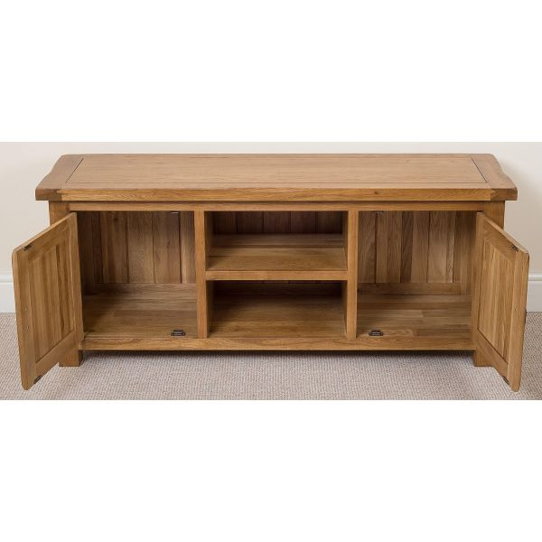 Cotswold Oak Widescreen TV Cabinet - All Drawers Opem