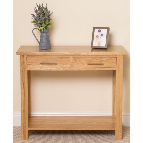 Oslo Solid Oak Console Table - Front