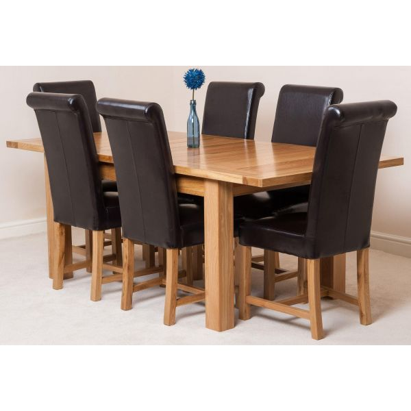 Seattle Solid Oak 150cm-210cm Extending Dining Table with 6 Washington Dining Chairs [Brown Leather]