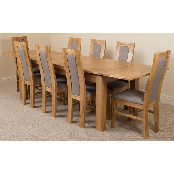 Richmond Large Oak Extending Dining Table with 8 Stanford Oak Dining Chairs