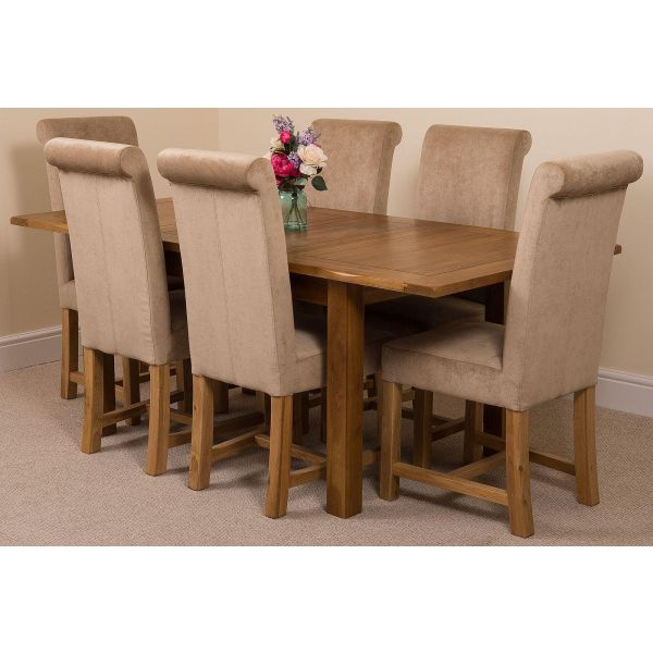 Cotswold Rustic Solid Oak 132cm-198cm Extending Farmhouse Dining Table with 6 Washington Dining Chairs [Beige Fabric]