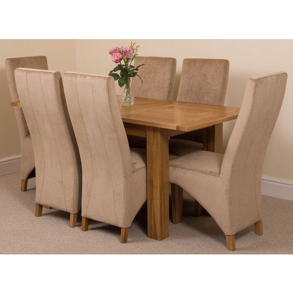 Hampton Solid Oak 120-160cm Extending Dining Table with 6 Lola Dining Chairs [Beige Fabric]