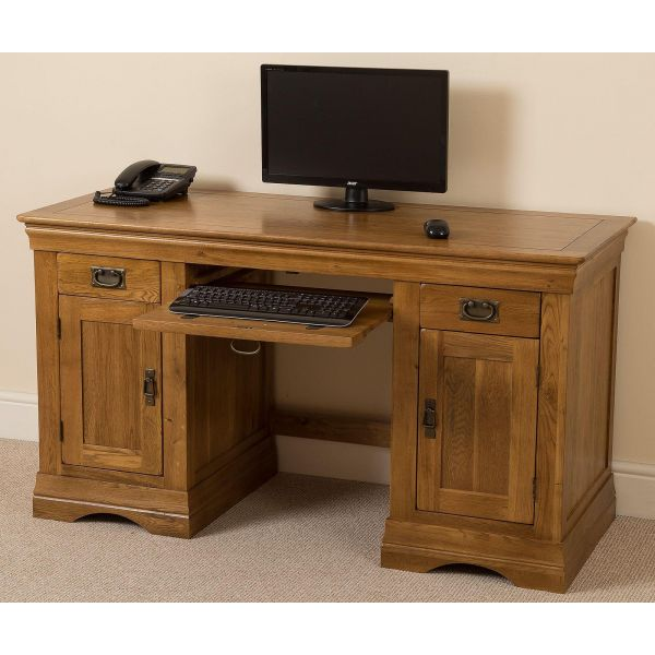 French Chateau Rustic Solid Oak Computer Desk - Keyboard Space