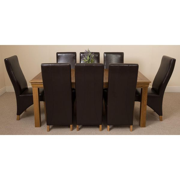 French Chateau Rustic Solid Oak 180cm Dining Table with 8 Lola Dining Chairs [Brown Leather]