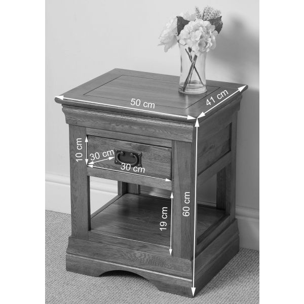 French Chateau Rustic Solid Oak Lamp Table