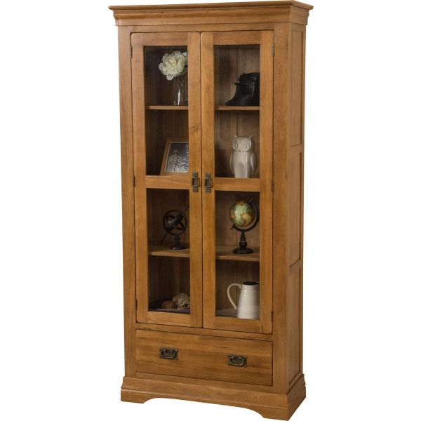 French Chateau Solid Oak Display Cabinet - Blank