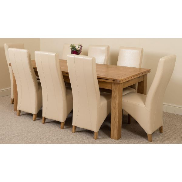Richmond Solid Oak 200cm-280cm Extending Dining Table with 8 Lola Dining Chairs [Ivory Leather]