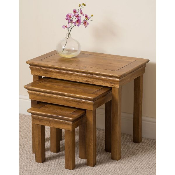 French Chateau Solid Oak Nest of Tables - Wall